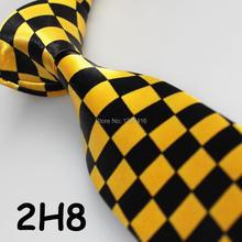 2016 Latest Style Unique Men's Necktie Black&Yellow Geometric Design/Necktie For Men/Classic Tie/Boy's Accessories/Men Dress Tie