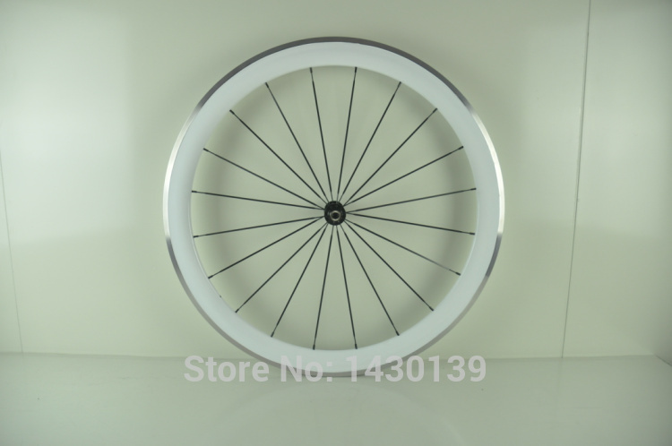 1pair New 700C 50mm clincher rim Road bike carbon bicycle wheelsets with alloy brake surface +hub+aero spoke+skewers white color(China (Mainland))