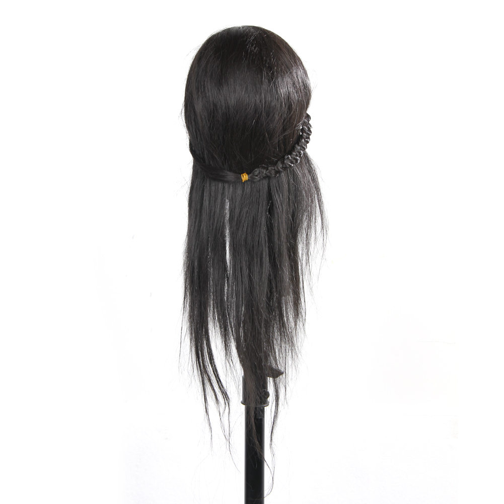 Professional Hairdressing Training Mannequin Practice Head 65cm Black Hair Barber Hairdressing Accessories Practive Head