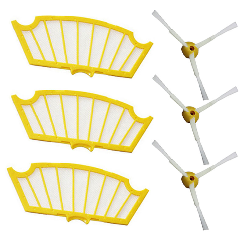 Side Brush 3 Armed +filter kit Replacement For iRobot Roomba 500 Series 530 555 560 580 581 Robotic Vacuum Cleaner Parts 6 Pcs(China (Mainland))