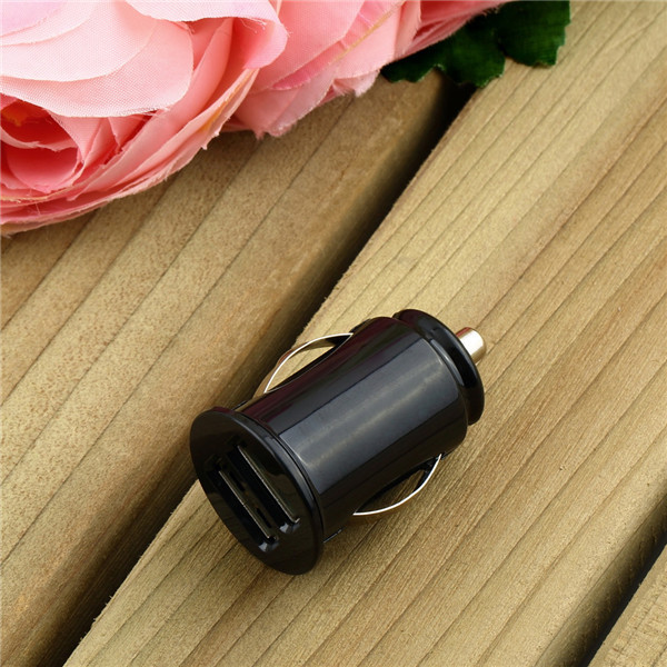 1pc Micro Auto Universal Dual 2 Port USB Car Charger For iPhone for iPod 3.1A Mini Car Charger Adapter / Cigar Socket Black(China (Mainland))