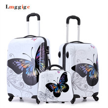 """Cartoon butterfly picture design Luggage,20""""24""""inch Carry-Ons,Child Women's Suitcase,ABS Travel Bag,Universal wheel Trolley box(China (Mainland))"""