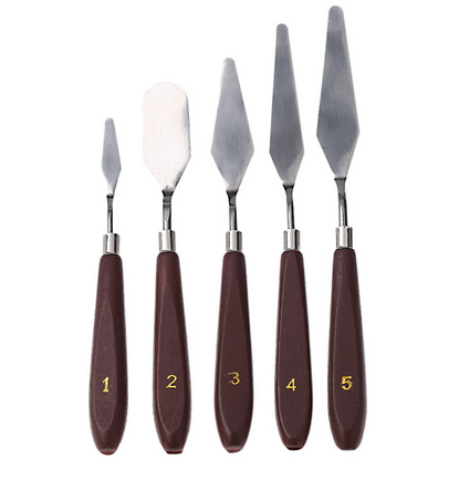 Гаджет  5pcs Stainless Steel Palette Knife set Mixed Scraper Set Spatula Knives for Artist Oil Painting knife free shipping None Офисные и Школьные принадлежности
