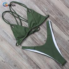 BANDEA women bikini set summer 2017 solid swimsuit halter top swimwear padding bikini brazilian swimwear bathing suit HA011(China (Mainland))