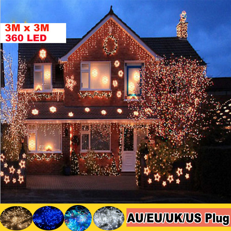 3M x 3M 360 LED christmas lights Outdoor Party Wedding Fairy String Decorative Curtain Lights Garland christmas tree curtain(China (Mainland))