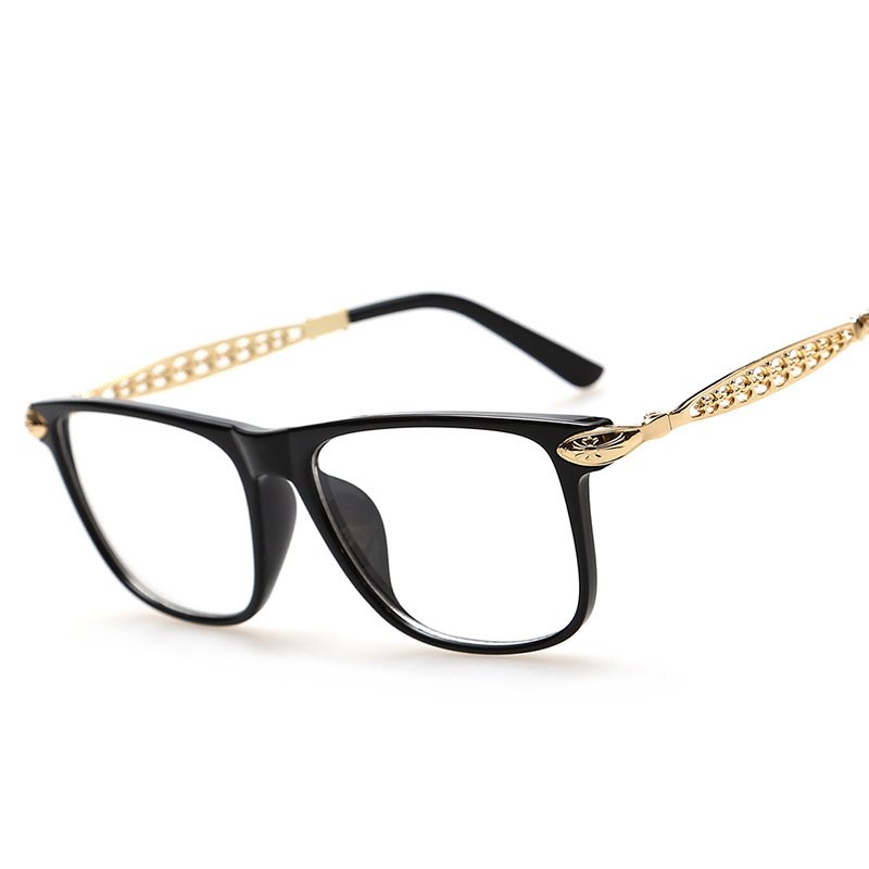 Fashion Brand Korean Glasses Frames Metal Hollow Legs Leopard Print Glasses Frames Women Nerd