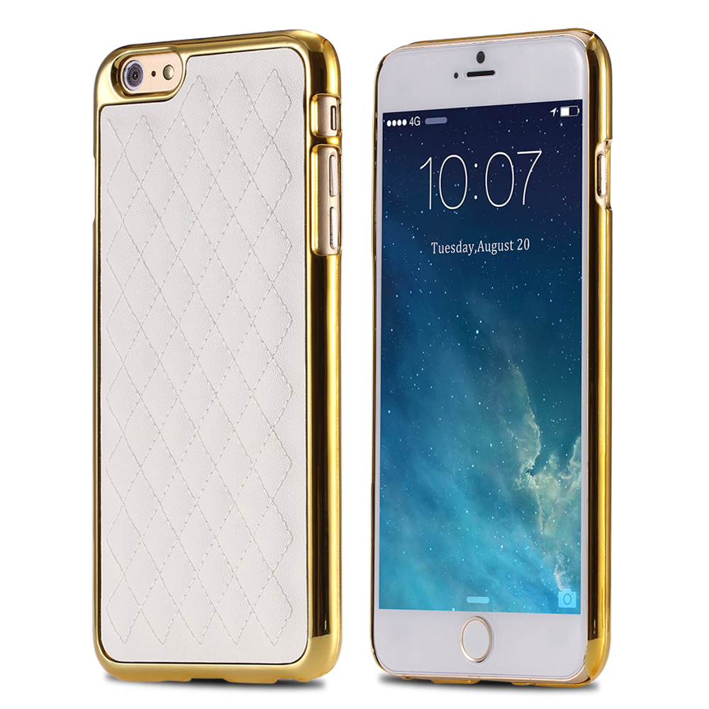 Gold Luxury Grid Leather Case For Apple iPhone6 6S 4.7 Phone Accessories Casual Simple Vintage Retro Back Cover for iphone 6 6S(China (Mainland))