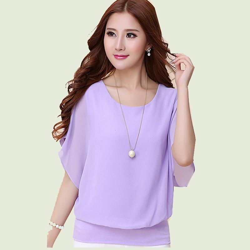 2015 New Fashion Shirt Women Summer Batwing Sleeve Women Tops and Women Clothing Chiffon Blouse Plus Size S 4XL ZLY179(China (Mainland))