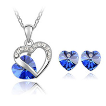 New 2014 Wholesale Crystal Jewelry Austrian crystal Heart pendants necklace earrings jewelry sets silver plated for women(China (Mainland))
