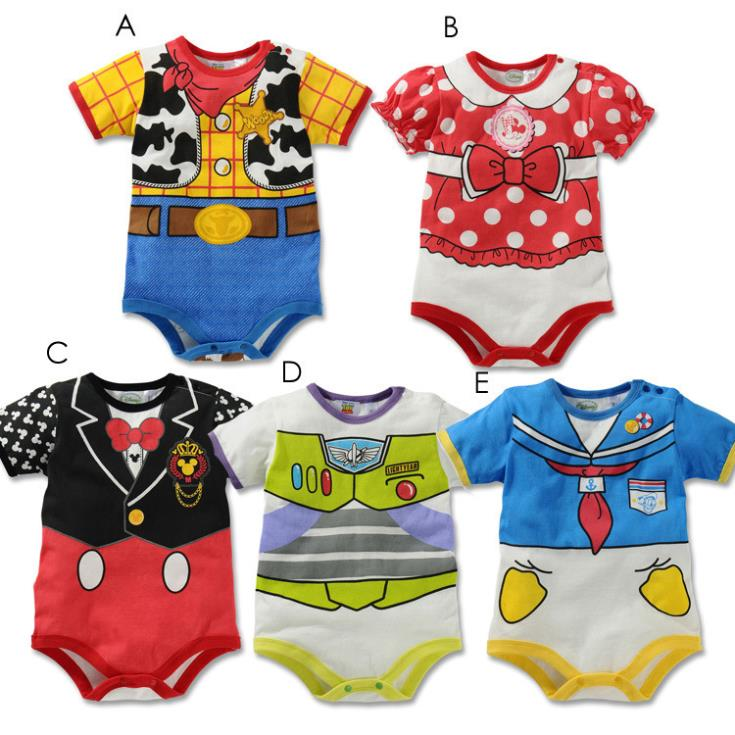 Christmas hot sale 2015 new summer baby clothes girl boys Strap Cartoon minnie mickey short sleeves