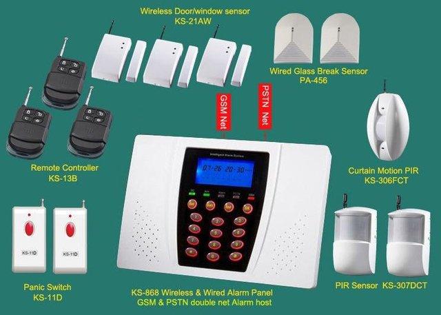 Package sales of 8 partitions office security burglar alarm and panic alarm, break glass detector Karassn brand GSM /PSTN alarm