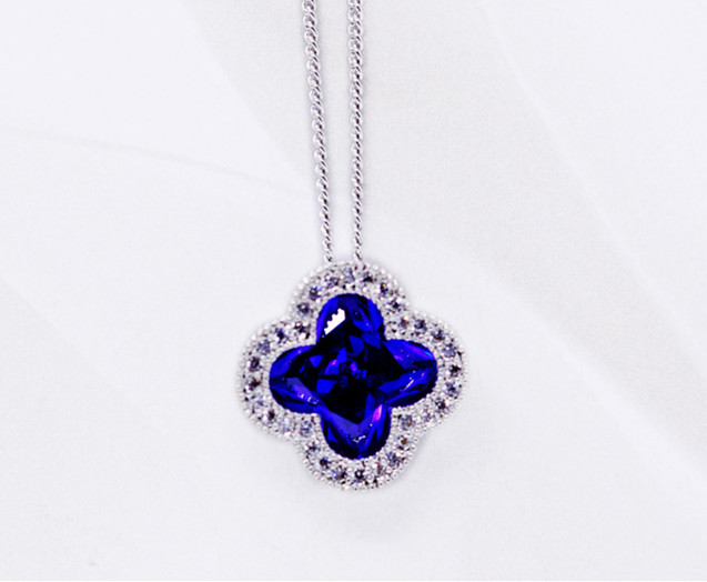 Charm blue flower Fashion pendant necklace micro insert excellent quality beautiful jewelry in gift box ALW1618(China (Mainland))