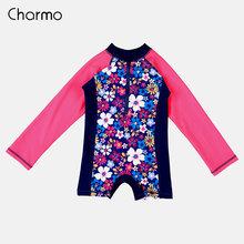 Charmo Satu Potong Bayi Perempuan Baju Renang Anak-anak K Berlaku Baju Renang Anak Lengan Panjang Ruam Penjaga UPF 50 + Beach wear Anak K Berlaku(China)