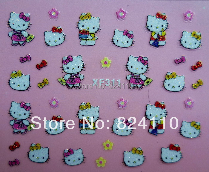 With the paper card detail package nail multiple shop promotion free shipping PVC 3D hello kitty nail art sticker(China (Mainland))