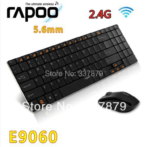 Rapoo E9060 Compact slim Mini 2.4GHz Wireless Keyboard Mouse Combos Stainless Steel brushed Keyboards Both Hands Mice Combo Suit(China (Mainland))