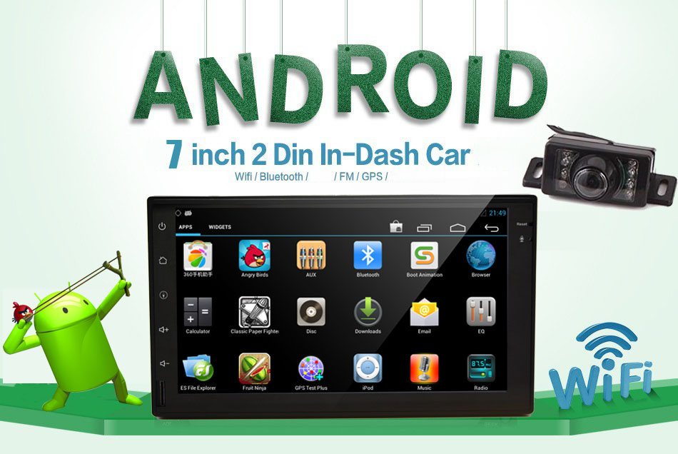 7 inch Android Car Audio GPS Navigation 2Din in dash Car Stereo Radio Universal Car Video Player Support Wifi+Free camera+AM/FM(China (Mainland))