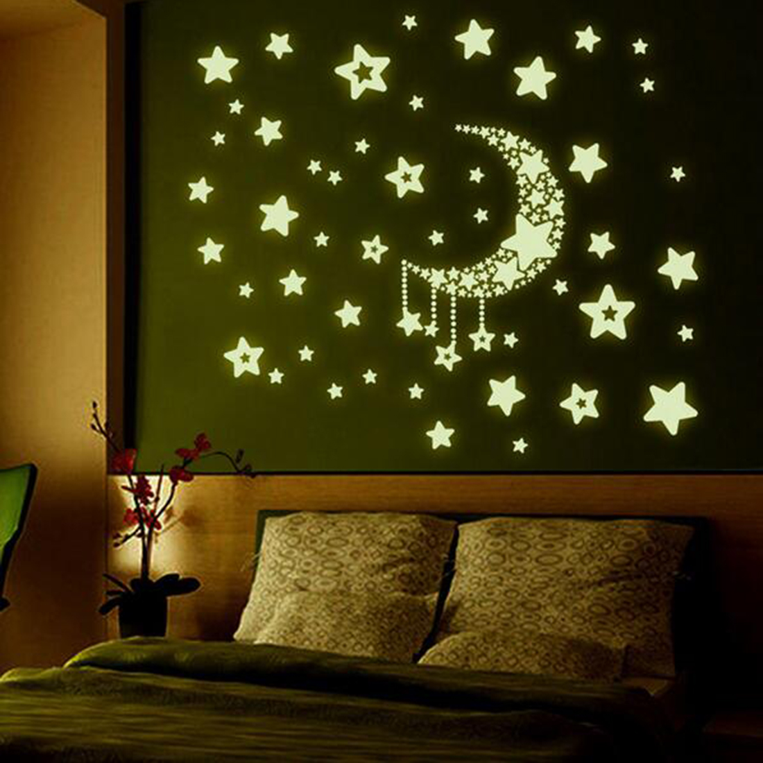 Fashion Night Light Luminous Stickers Home Decor Home Decoration Wall Sticker Rooms Wall Decals Moon And Stars(China (Mainland))