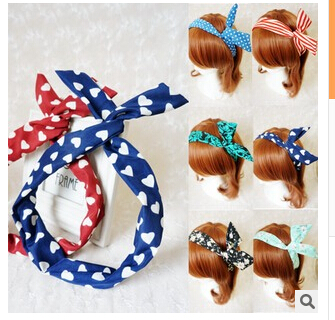 Cute Bunny Ear Elastic Hair Ties Ropes Camellias/Spots Decorated Rubber Bands Fashion Hair Accessories Headwear-0050(China (Mainland))