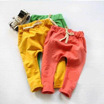 Малыш брюки новый 2014 осень полная длина мальчиков и девочек брюки твердые шаровары дети терри эластичный пояс дети брюки