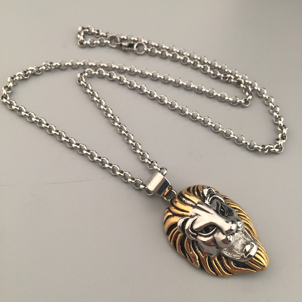 New Fashion Titanium Steel Lion Head Pendant Necklace Lion King Charm Link Chain Hip Hop Punk Style Men's Necklace Jewelry Gift(China (Mainland))
