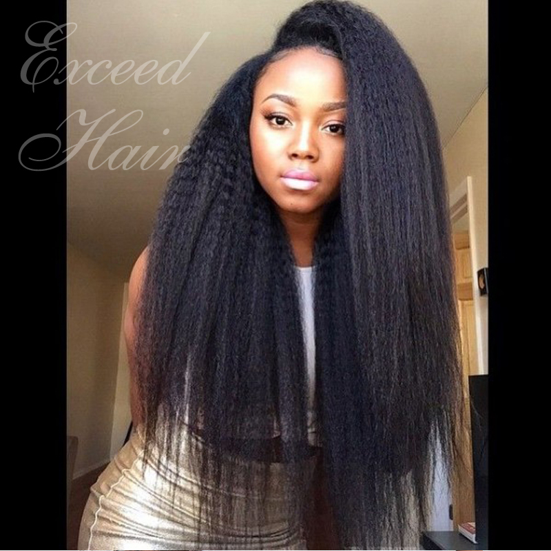 Hot! Fashion Kinky Straight Lace Front Wigs/ Full Lace Human Hair Wigs For Black Women 7A Brazilian Virgin Hair Free Shipping!!(China (Mainland))