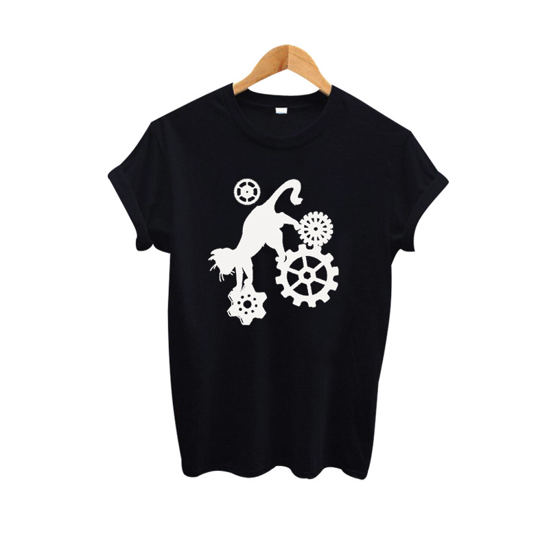Fantasy Cat T-shirt Steampunk Gears