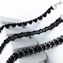 Polyster Jiayiqi 2016 Nuevo Llega La Vendimia Laciness Negro Joyería de Moda Gargantilla Collar De la Mujer Regalo de La Muchacha