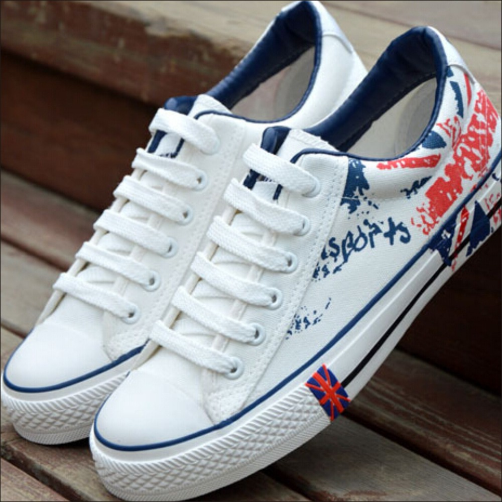 2015 Brand New Men Canvas Shoes Fashion Flats Shoes British Style England Flag Print Spring