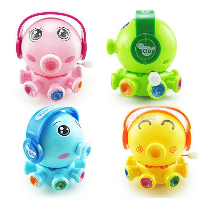 Funny Colorful Baby Wind Up Toys Clockwork Movement Octopus With Earphone For Kids(China (Mainland))