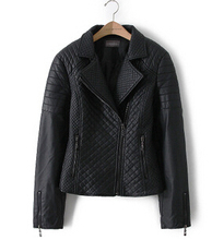 Spring Women New lapel solid color small diamond quilted leather motorcycle zipper cuffs suede jacket(China (Mainland))