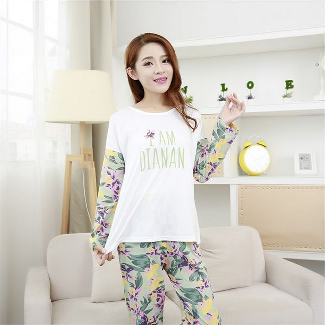 New Women's fashion sweet womens pajamas floral printing Indoor Clothing Home Suit Sleepwear Long sleeve Trousers Pajamas(China (Mainland))