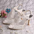 Elegant Lace Fabric Women Summer Wedding Dance Sandals with Flower Size 40