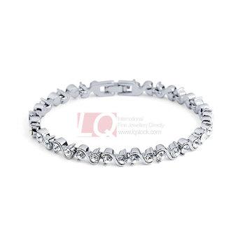 LQ Fashion Bracelet Roman holiday Nickel free with 18K Gold Overlay Alloy Bangle Full Swiss Diamond Zircon Bracelet
