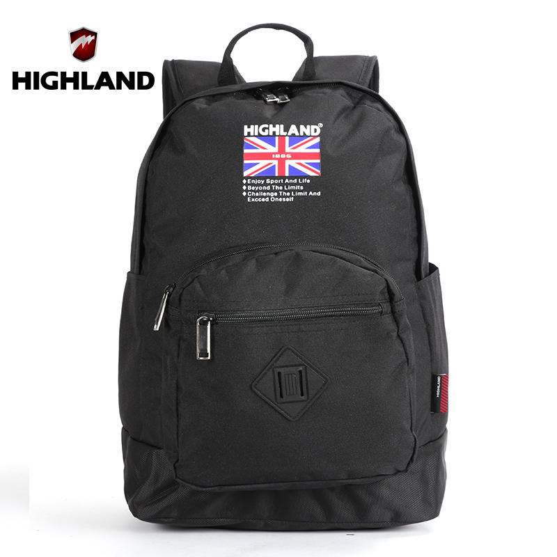 HIGHLAND 2016 High School Bags For Teenagers Waterproof Nylon Women Backpack Traveling Black Laptop Backpack 15.6 Business Men(China (Mainland))