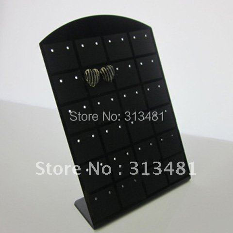 13x9cm Black White Color 24 Pair L-type Jewelry Holder Organizer Earrings Display Stand 12pcs X6R5C