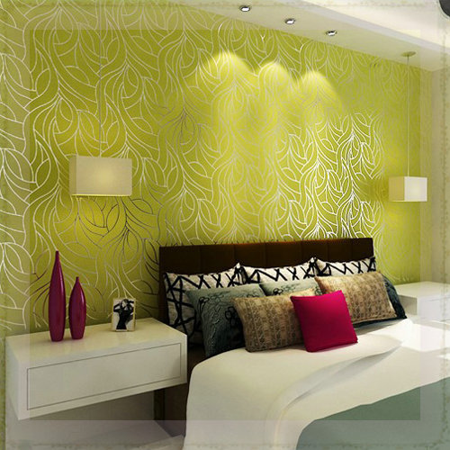 Curve line non woven feature wall wallpapers for bedroom for Black feature wall living room