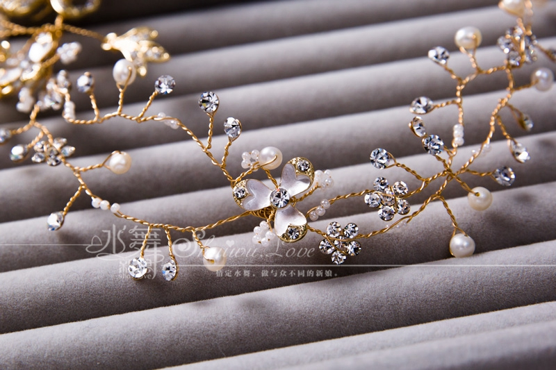 New Handmade Pearl Wedding headdress flower bride hair accessories European style(China (Mainland))