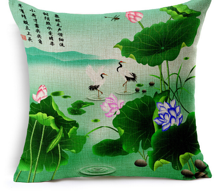 Chinese traditional lotus print cushion cover, creative print sofa cushion cover, car seat cushion cover(China (Mainland))