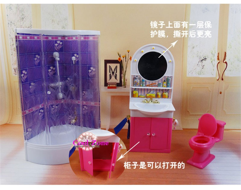 Miniature Furnishings Washroom for Barbie Doll Home Greatest Present Toys for Woman Free Transport