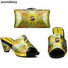 Warna Orange Afrika Sepatu dan Yang Sesuai dengan Tas Italia Sepatu dan Tas untuk Mencocokkan Sepatu dengan Tas Dihiasi dengan berlian Imitasi(China)
