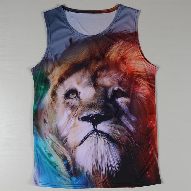 Высокое качество мода танки лучшие мужчины животных лев печатным рисунком жилет мужчин ...
