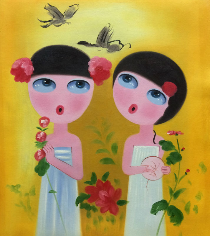 Hand Painted Modern Abstract Cartoon Canvas Painting Lovely Girl Oil Painting On Canvas Wall Art Picture Painting For Room(China (Mainland))