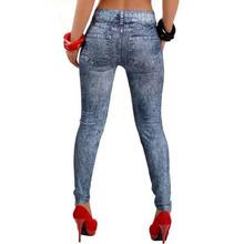 2016 New Stylish Women Gray Denim Like Faux Jean Pants Leggings Jeans Woman MID Waist Jeans Femme American Apparel