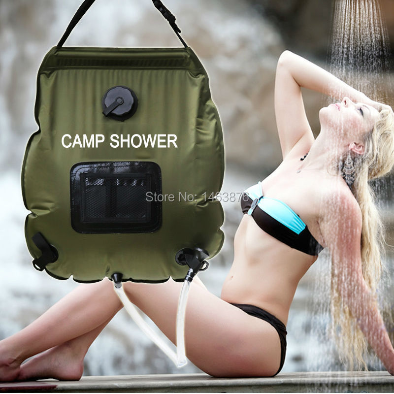 2015 new camp shower 20L Camping showers portable Solar Shower Outdoor shower bag Water Bag with thermometer free shipping(China (Mainland))