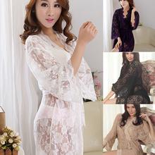 Womens Sexy See Through Lace Sleepwear Robes Lingerie Pajamas Nightgown Bathrobe (China (Mainland))