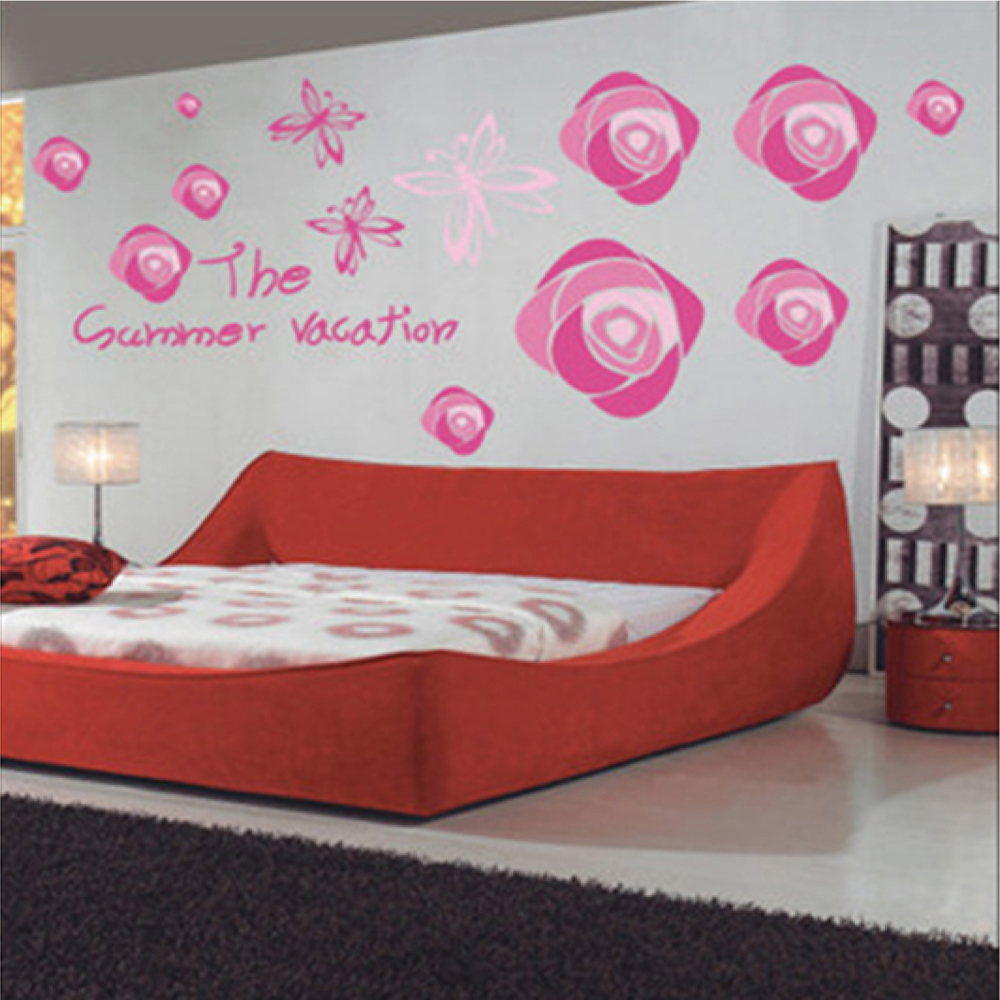 Beautiful pink rose flowers butterflies wall decals - Beautiful wall stickers for living room ...