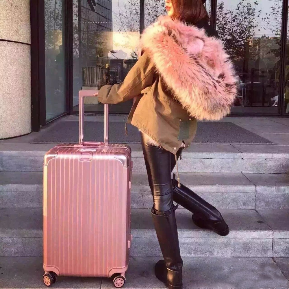 Rose gold aluminum frame trunk wanxianglun password boarding PC luggage pull rod case 24/26/29 inches(China (Mainland))