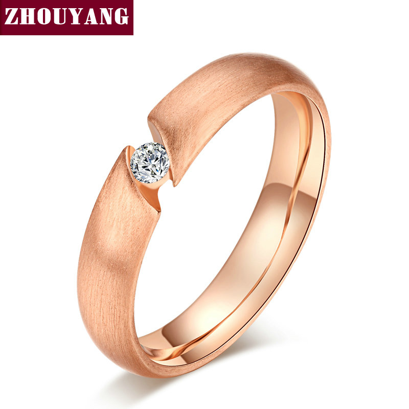 Top Quality CZ Diamond Wire Drawing Process 18K Gold Plated Lover's Ring Austrian Crystal Full Sizes Wholesale ZYR441 ZYR442(China (Mainland))