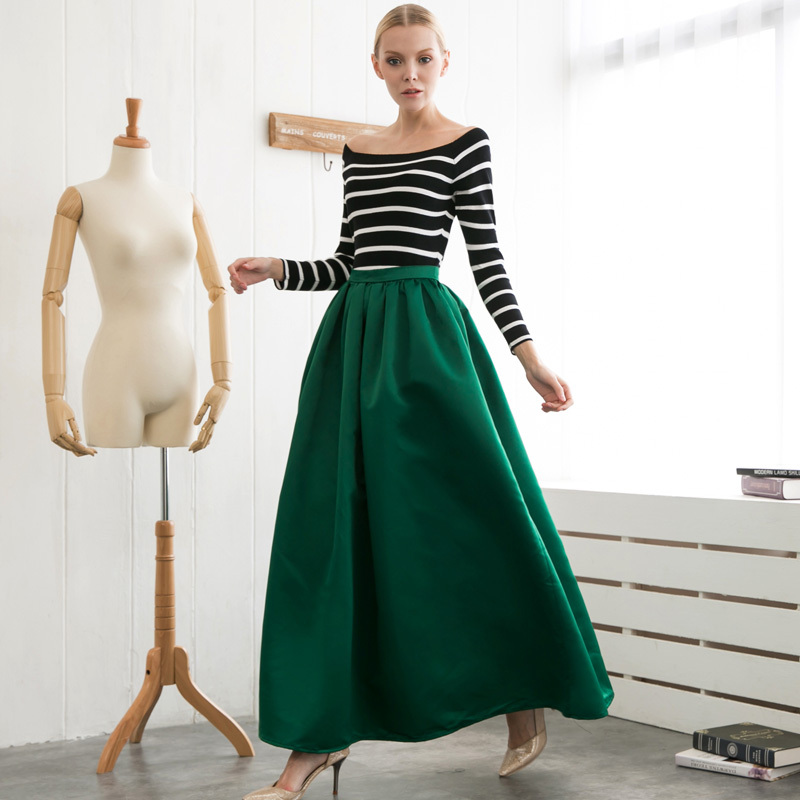 Dark Green Maxi Skirt - Skirts