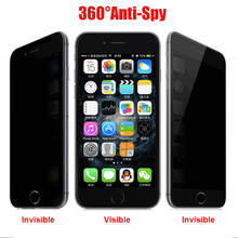 Wholesale 9H Anti-Spy Privacy Protector Tempered Glass Film Anty spy screen For Apple iPhone 6 6S free shipping